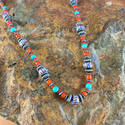 "26"" Glass Trade Bead, Turquoise, Coral & Sterling Silver Beaded Necklace"