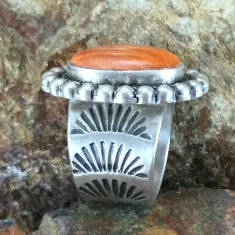 Orange Spiny Oyster Sterling Silver Ring by Jack Jackson - Size 7