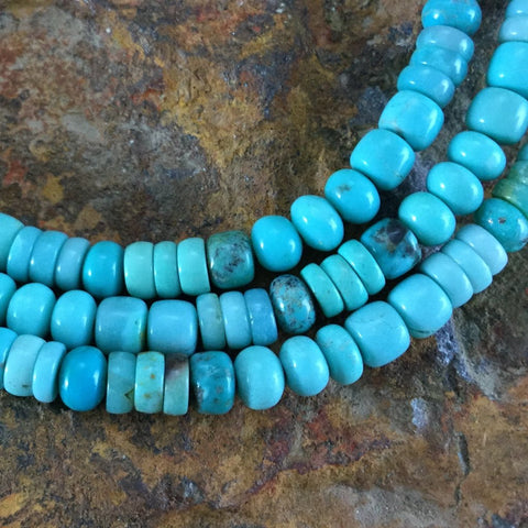 "60"" Single-Strand Kingman, Fox, Campitos Turquoise Beaded Necklace"