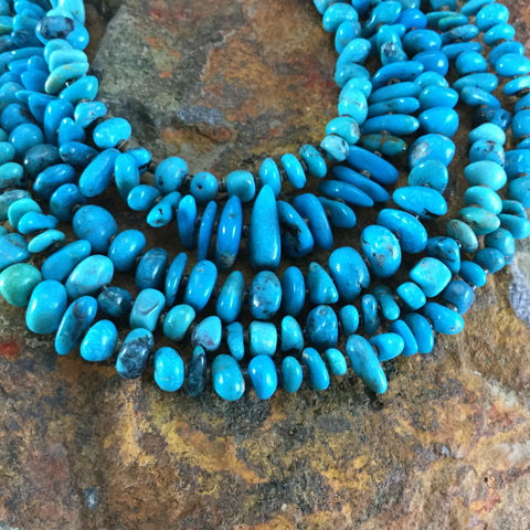 "30"" Five-Strand Tibetan Turquoise and Heishi Beaded Necklace"