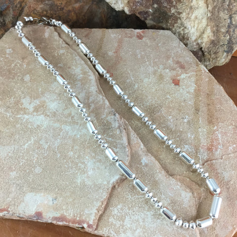 "20"" Single Strand Navajo Pearls Sterling Silver Necklace by Lola Daw"