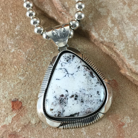 White Buffalo Sterling Silver Pendant & Beaded Necklace by J Piasso