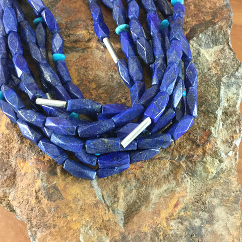 "24"" Eight-Strand Lapis & Sleeping Beauty Turquoise Beaded Necklace"