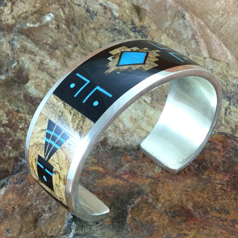 David Rosales Turquoise Creek Fancy Inlaid Sterling Silver Bracelet