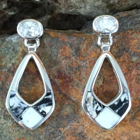 David Rosales White Buffalo Inlaid Sterling Silver Earrings w/ Cubic Zirconia