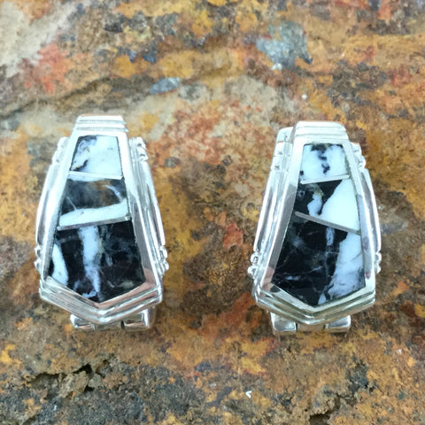 David Rosales White Buffalo Inlaid Sterling Silver Earrings Huggies