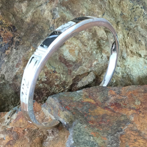 David Rosales Indian White Buffalo Inlaid Sterling Silver Bracelet