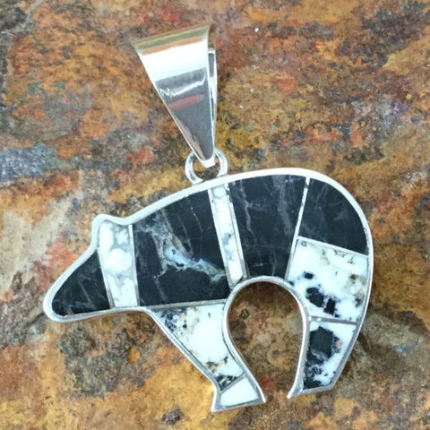 David Rosales White Buffalo Inlaid Sterling Silver Pendant Bear