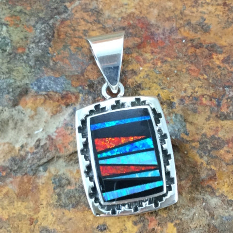 David Rosales Red Moon Inlaid Sterling Silver Pendant