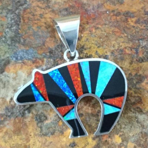 David Rosales Red Moon Inlaid Sterling Silver Pendant Bear