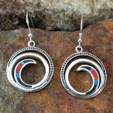 David Rosales Red Moon Inlaid Sterling Silver Earrings Spiral
