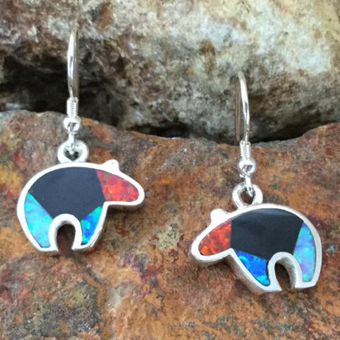 David Rosales Red Moon Inlaid Sterling Silver Earrings Bears