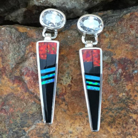 David Rosales Red Moon Inlaid Sterling Silver Earrings w/ Cubic Zirconia