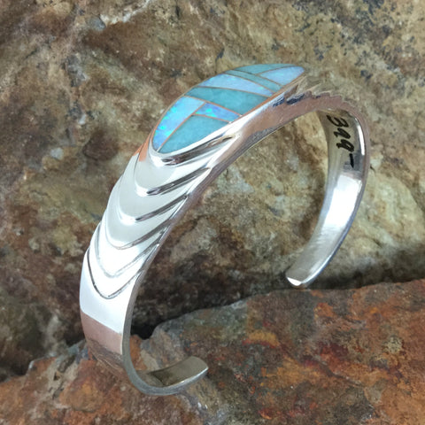 David Rosales Amazing Light Inlaid Sterling Silver Bracelet