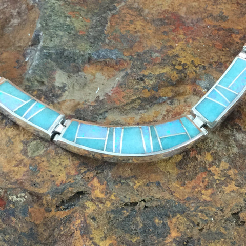 David Rosales Amazing Light Inlay Sterling Silver Necklace