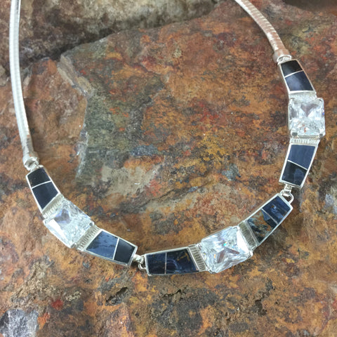 NEW David Rosales Pietersite Inlaid Sterling Silver Necklace w/ Cubic Zirconia