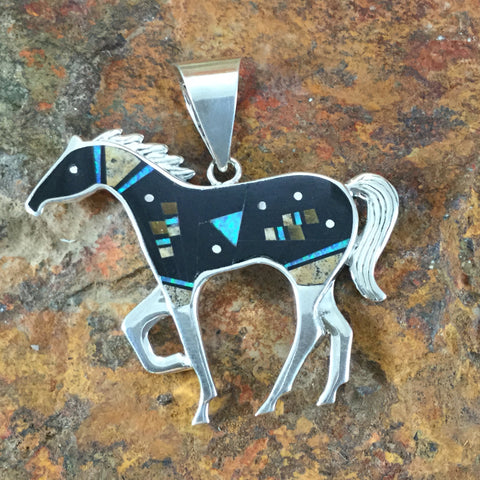 David Rosales Turquoise Creek Fancy Inlaid Sterling Silver Pendant Horse