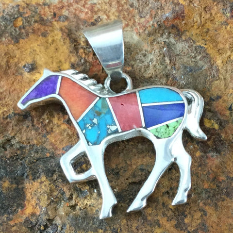 David Rosales Indian Summer Inlaid Sterling Silver Pendant Horse