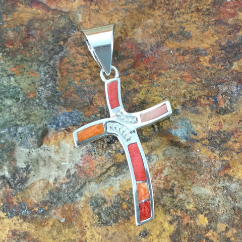 David Rosales Desert Fire Inlaid Sterling Silver Pendant Cross