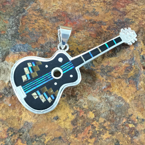 David Rosales Native Lite Fancy Inlaid Sterling Silver Pendant Guitar