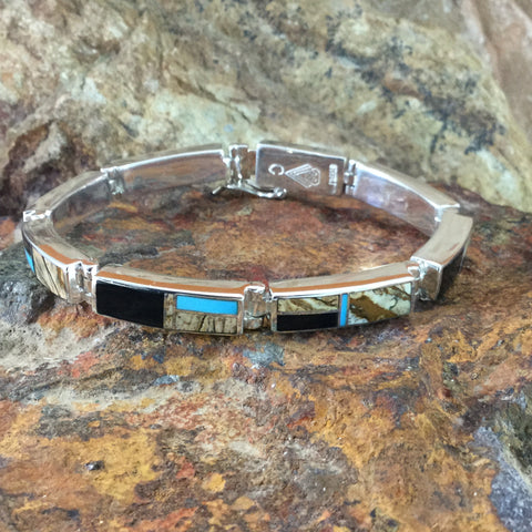 David Rosales Turquoise Creek Inlaid Sterling Silver Big Link Bracelet