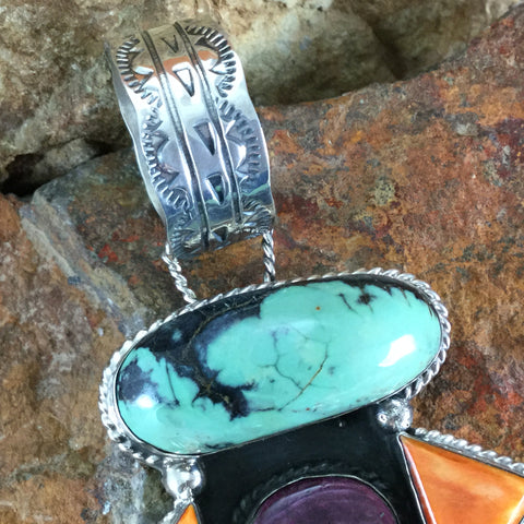 Apache Turquoise Variscite & Spiny Sterling Silver Pendant by Billy The Kid