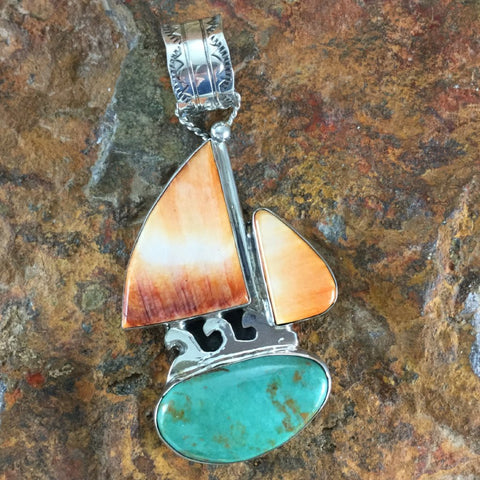 Alacron Turquoise & Orange Spiny Sterling Silver Pendant by Billy The Kid