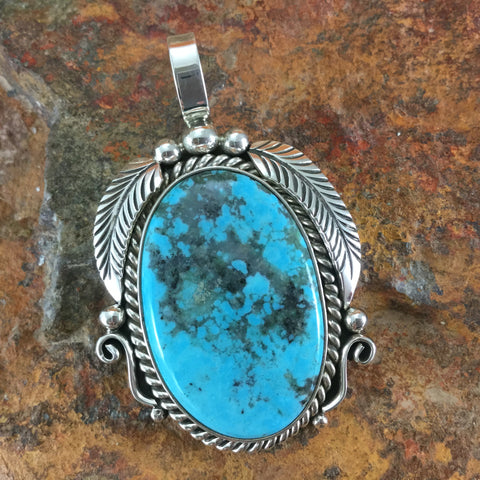 Kingman Turquoise Sterling Silver Pendant by Randy Secatero