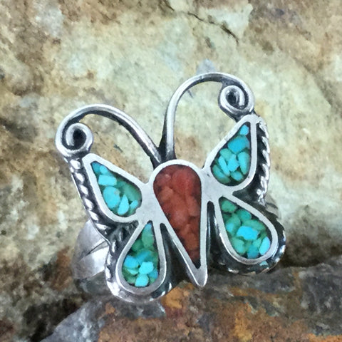 Vintage Zuni Chip Inlay Turquoise & Coral Silver Ring - Estate Jewelry