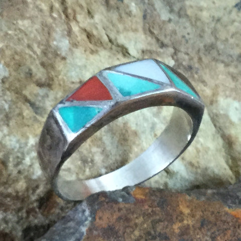 Vintage Zuni Turquoise Inlaid Silver Ring - Estate Jewelry