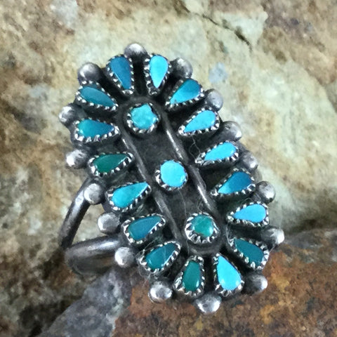 Vintage Zuni Petit Point Turquoise Silver Ring - Estate Jewelry