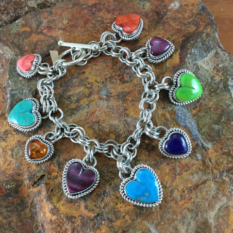 Sterling Silver Multi Stone Heart Charm Bracelet by Artie Yellowhorse