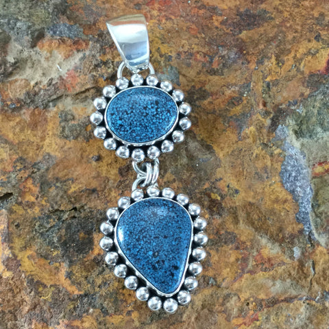 Kingman Web Turquoise Sterling Silver Pendant by Artie Yellowhorse