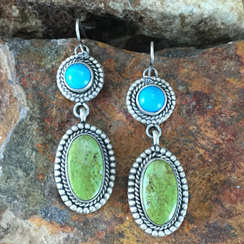 Sleeping Beauty Turquoise & Gaspiete Sterling Silver Earrings by Martha Willeto