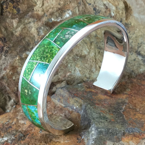 David Rosales Sonoran Gold Turquoise Inlaid Sterling Silver Bracelet