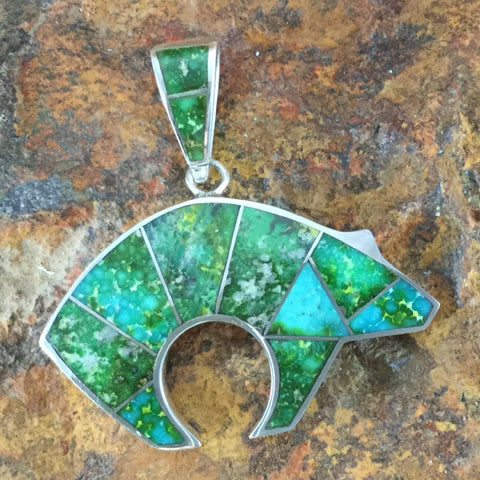 David Rosales Sonoran Gold Turquoise Inlaid Sterling Silver Pendant Bear