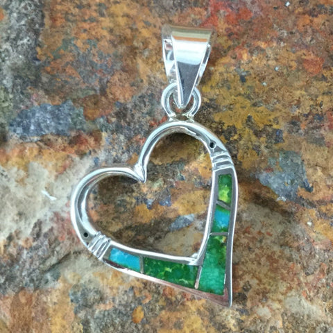 David Rosales Sonoran Gold Turquoise Inlaid Sterling Silver Pendant Heart
