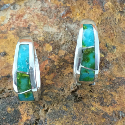 David Rosales Sonoran Gold Turquoise Inlaid Sterling Silver Earrings Huggie