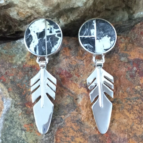 David Rosales White Buffalo Inlaid Sterling Silver Earrings Feathers