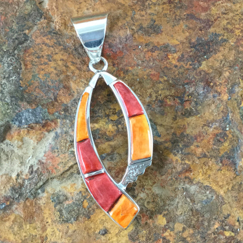 David Rosales Desert Fire Inlaid Sterling Silver Pendant