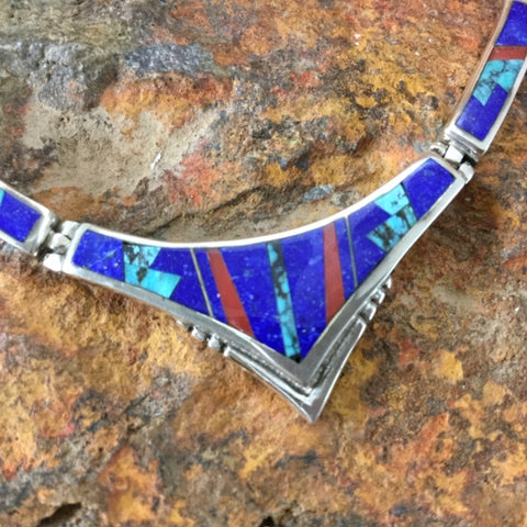 David Rosales Ceremonial Inlaid Sterling Silver Necklace