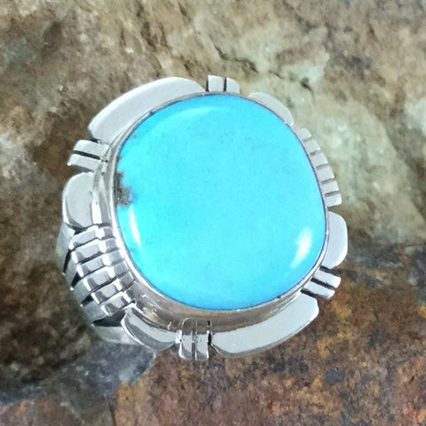 Kingman Turquoise Sterling Silver Ring by P Sanchez - Size 6.5