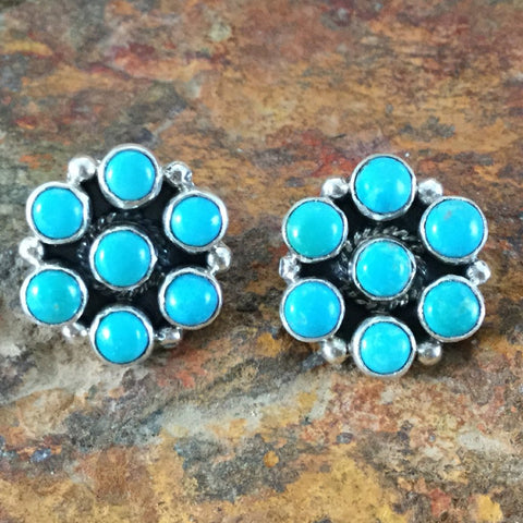 Sleeping Beauty Turquoise Sterling Silver Earrings Cluster
