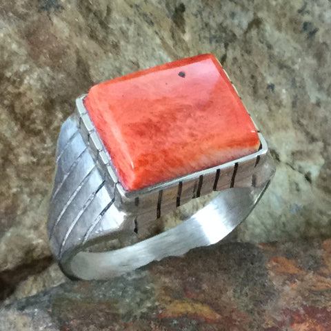 Orange Spiny Oyster Sterling Silver Ring - Size 13