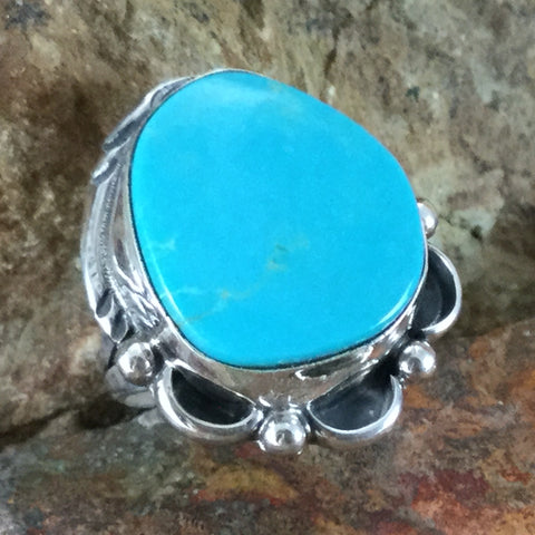 Kingman Turquoise Sterling Silver Ring Size 6.5