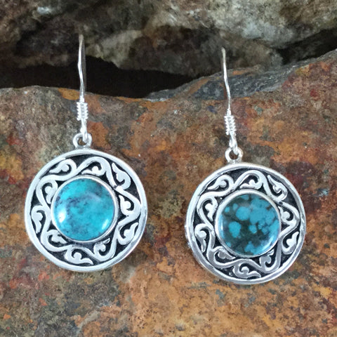 Spirit Medallion Sterling Silver Earrings w/ Web Turquoise by Melanie Lente