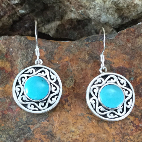 Spirit Medallion Sterling Silver Earrings w/ Sleeping Beauty Turquoise by Melanie Lente