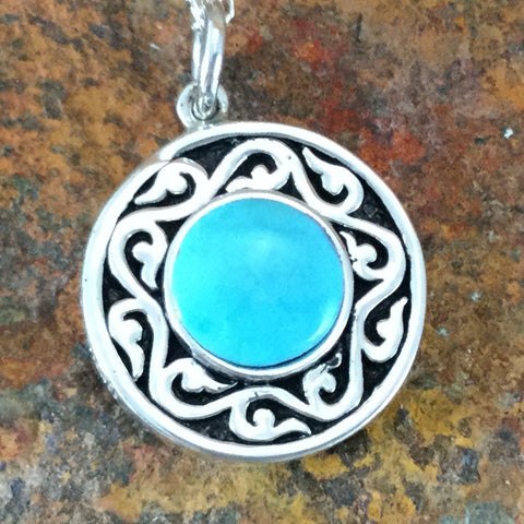 Spirit Medallion Sterling Silver Pendant w/ Sleeping Beauty Turquoise by Melanie Lente