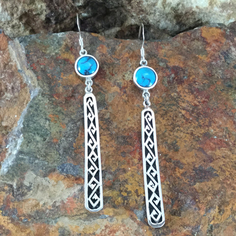 Tibetan Turquoise Inlaid Sterling Silver Earrings by Melanie Lente