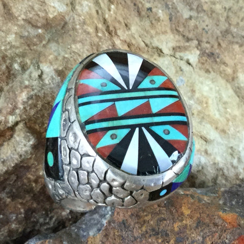 Vintage Zuni Turquoise, Coral, Black Jet, MOP Silver Ring Size 10.5 -- Estate Jewelry